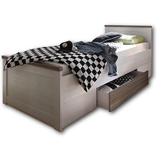 LUCA KOMFORT Stilvolles Einzelbett 100 x 200 cm mit Bettkasten - Komfortables Landhausstil Schlafzimmer-Bett in Pinie Weiß / Trüffel - 106 x 91 x 205 cm (B/H/T)