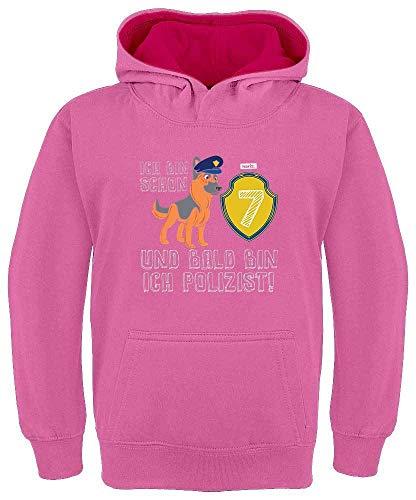 """Sudadera con capucha para niños de Hariz, con texto en alemán """"Bald Bin Ich Polizeiist Schäferhund 7 Geburtstag Rosa / Fucsia 8 años"""