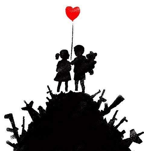 Banksy Schablone - Kinder auf Pistole Hügel/Wiederverwendbar Wohndeko & Kunst Handwerk Malerei Schablone - semi-transparent Schablone, M 25X25CM