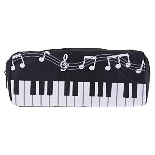 Jiken Kinder Schreibwaren Bürobedarf Musik Noten, Klavier, große Kapazität, Stifttasche mit Tastatur Schwarz