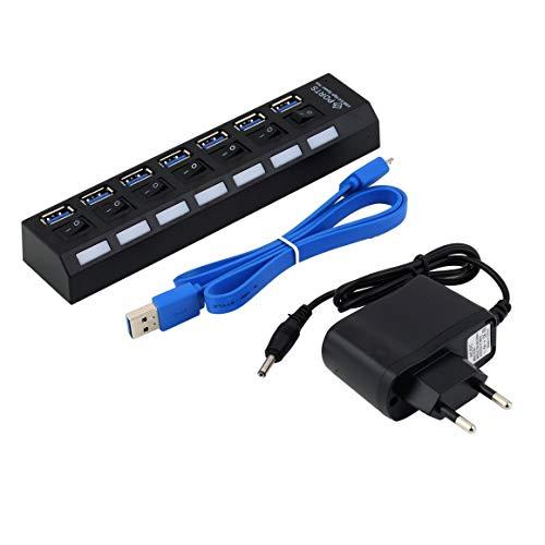 KoelrMsd 7 Puertos ABS USB 3.0 Hub con Interruptor de Encendido / Apagado Adaptador de Corriente alterna para PC portátil 100-240V 150mA 63cm Cable Enchufe de la UE