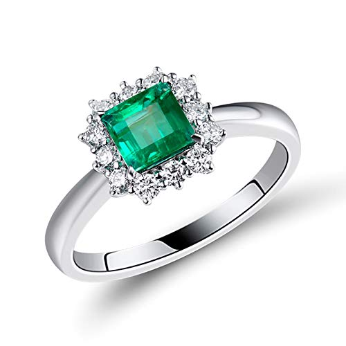 Aartoil Mujer oro blanco 18 quilates (750) cuadrada Green White Emerald Diamond