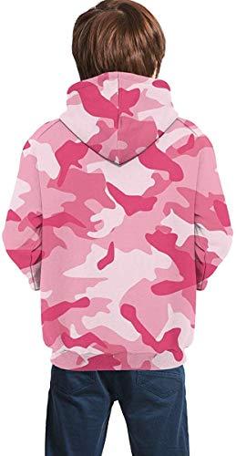 Suzanne Betty Sudaderas con capucha para niños Sudaderas con bolsillos para niñas y niños juvenil-abstracto camuflaje rosado-48-20