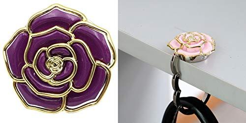 Bolsa de escritorio con diseño de rosas para colgar en el bolso o en el bolso de mano, plegable, para colgar en el bolso, para mujeres y niñas, color morado