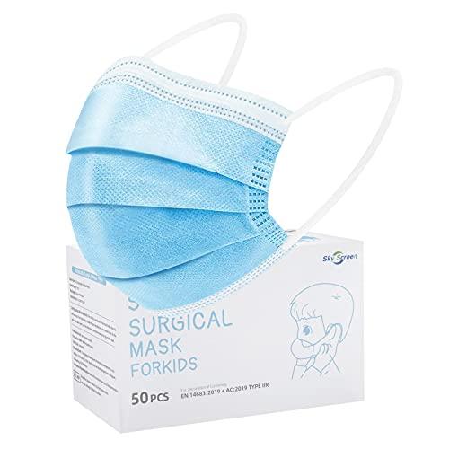 SOYES Kinder Mundschutz TYP IIR 3 Lagig Einwegmasken Kinder - 50 Stück CE Zertifizierte Einweg-Gesichtsmaske - Mund Nasen Schutzmaske Kindermasken Junge Mädchen,BFE 99% Blau