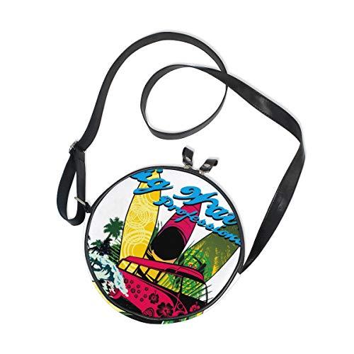Ahomy Round Bag Small for Women - Palm Beach Surfer Ladies Fashion Crossbody Bag Shoulder Bags