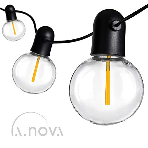 LED Outdoor String Lights Indoor G55 27ft with 20 Bulbs Individual Light String with 1 Spare Filament for Patio, Garden, Backyard, Pool L.A.NOVA