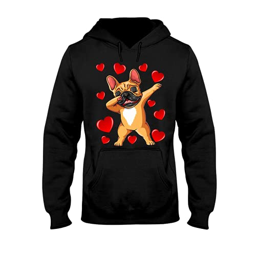 Heart Dog Hoodie, Dab With Frenchie Hoodies For Men Women - Warm Brushed Fleece Layer Inside - Pullover Long Sleeve 3D Print Hooded Sweatshirt Series 3 Size XL