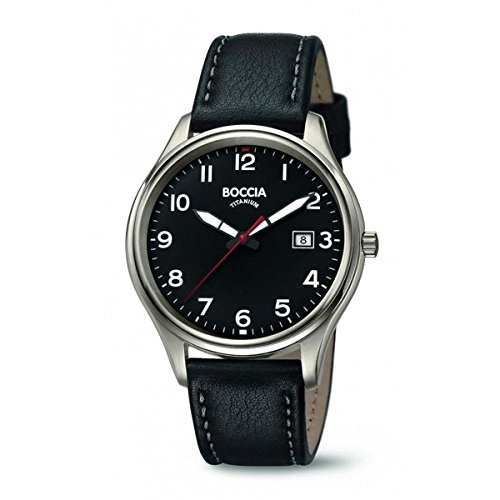 Boccia Herren Analog Quarz Uhr mit Leder Armband 3587-05