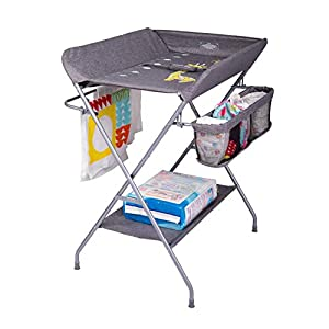 FIZZEEY Baby Diaper Changing Table w/Storage Rack, Gray – Portable Folding Diaper Changing Table Station Nursery Furniture for Infant and Baby