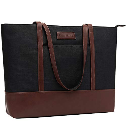 """Sunny Snowy 17"""" Laptop Tote Bag for Women - Black"""