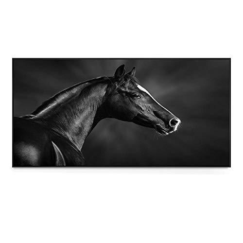 Pintura de Arte de Pared en Blanco y Negro Pintura de Caballo en Lienzo imágenes para Carteles de decoración de Sala de Estar e Impresiones sin Marco-B_40x80cm