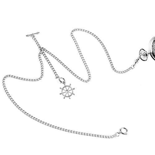 ManChDa Double Albert Chain Taschenuhr, Curb Link Chain 3 Haken Antique Plating Shield Design Fob T Bar für Männer Silber mit Ruder Anker Anhänger