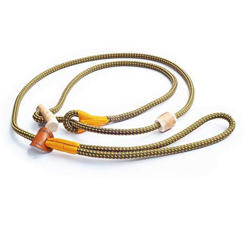 KENSONS for dogs Retrieverleine Elegant | robuste Hundeleine aus Tau mit integrierter Halsung | Ø6mm | Horn-Zugstopp
