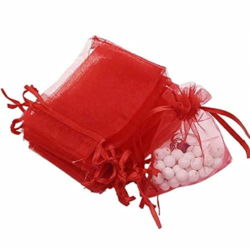 Obelunrp Caja de Almacenamiento Comida, Bolsas de Regalo de Organza con cordón Organza Durable Fiesta de Boda Favoritos Bolsas Semitransparentes Bolsas de joyería Vino Rojo 100pcs