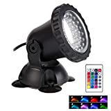 Pond Light Waterproof IP68 Underwater Color Changing Landscape Lights Dimmable Submersible Spotlight 36 LED Decorate Lighting for Pond Aquarium Garden Pool Yard Lawn Fountain Waterfall(Set of 1)