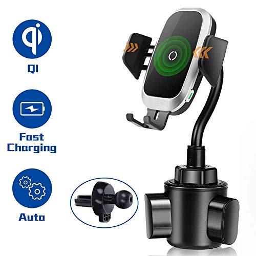 Wireless Charger Auto Getränkehalter Auto, Universal Autohalterung Schwanenhals für Getränkehalter Handyhalterung Auto Induktion Kompatibel mit iPhone 11 Pro XS XR X 8 Galaxy S10 S9 Note S8 S7 S6