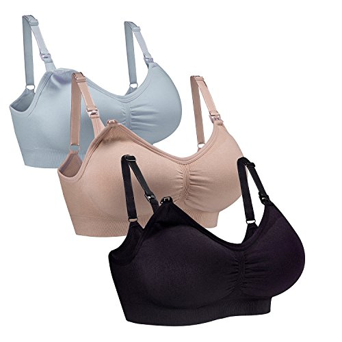 WhiFan 3 Pack Sujetador Premamá Enfermería de La Maternidad del Sueño Sujetador Wirefree De Lactancia Sin Costuras Sujetador para Mujer (XL, 3Pack(Black+Nude+Sky Blue))