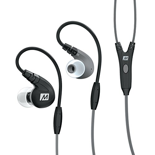 MEE Audio EP-M7P-BK-MEE Secure Fit Sport In-Ear Kopfhörer Control Talk und Universal-Lautstärkenregler schwarz