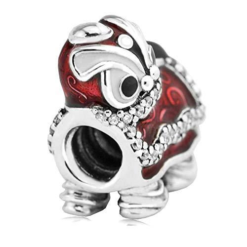 PANDOCCI 2017 Valentinstag-authentisches 925 Sterlingsilber, chinesischer Löwe-Tanz-Charme-Korne DIY Sitz für Pandora-Armband-Schmucksachen