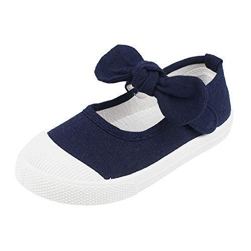 LACOFIA Scarpe da Scuola per Bambini Mary Jane Sneakers di Tela Bowknot per Ragazze Blu Marino 30