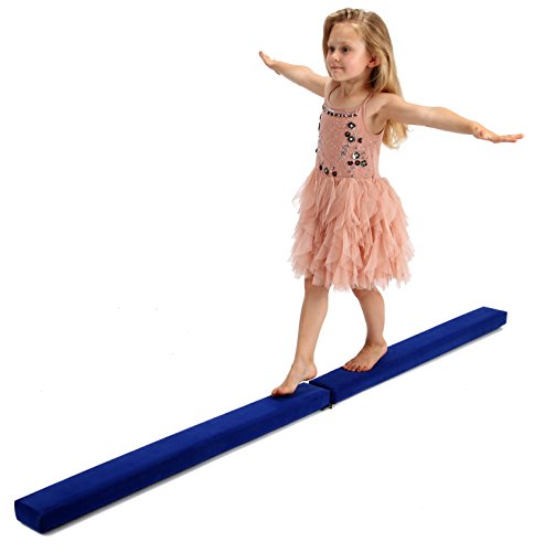 Powerfly 8ft Gymnastics Balance Beam 8 Feet - Folding & Low Profile - Gymnastics Equipment for Kids & Home Use - Wooden Base, Foam Padding, Non-Slip Suede Surface