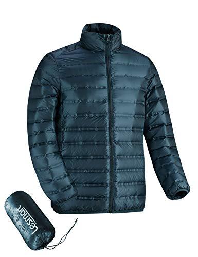 Lesmart Men's Ultralight Down Jacket Backpacking Packable Quilted Puffer Feather Fill Coat Dark Green XL