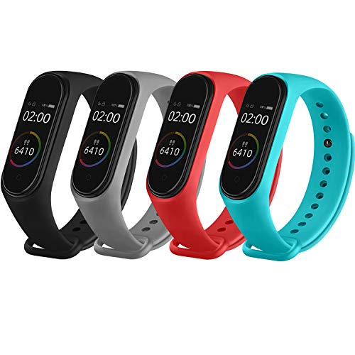 Funeng Straps for Xiaomi Mi Smart Band 4 / Mi Band 3, Colourful Replacement Bracelet in Anti-Lost Silicone Designed Fitness Tracker Accessories [Compatible with Xiaomi Mi Band 4] (4 Pieces 02)