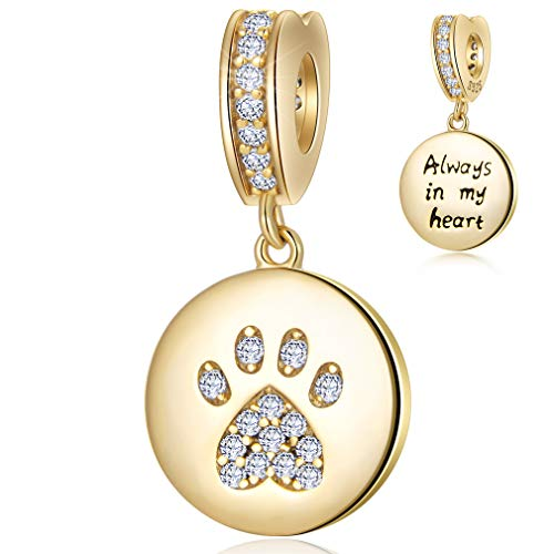 Always in My Heart Sparkling Paw Print Dangle Charm 925 Sterling Silver Dog Cat Charms Beads with CZ Stones Compatible with Pandora Charm Bracelet Necklace Gift for Women/Wife/Mother/Pet Lover