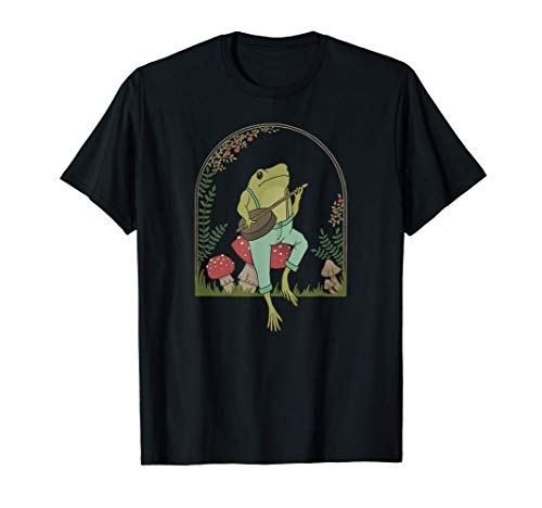 Cottagecore Aesthetic Frog Playing Banjo on Mushroom Cute T-Shirt