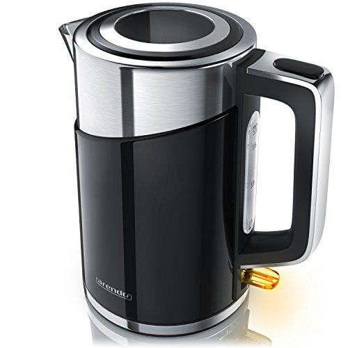 Arendo - Edelstahl Wasserkocher - 3000 Watt Teekocher - elktrischer Teekessel im Doppelwand Design - Schnellkoch Wasserkocher - Silber Schwarz