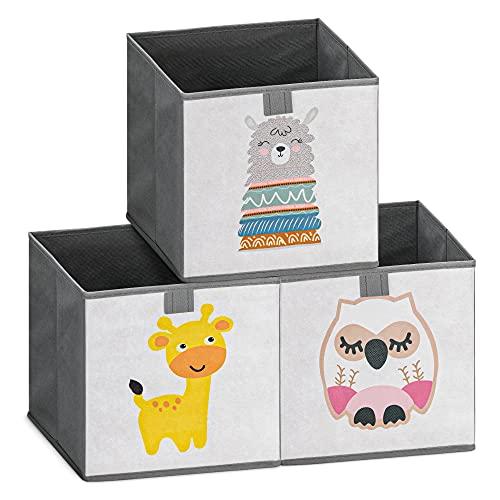 Navaris 3X Caja para almacenaje de Juguetes - Juego de Cajas Plegables para niños bebés - Cubo Plegable para Almacenamiento con diseño de Animales