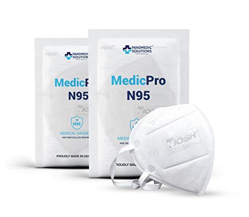 MedicPro N95 Mask NIOSH Approved, 10 Pack Individually Wrapped, N95 Particulate Respirator Mask Made in USA