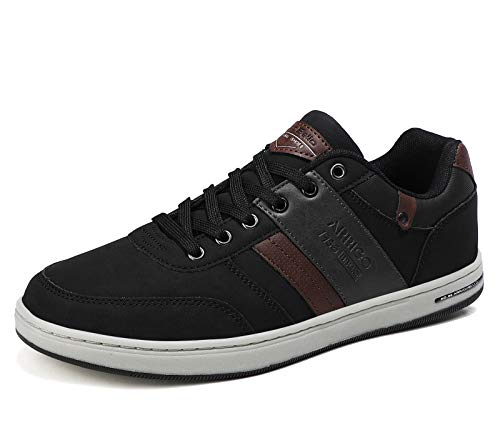 AX BOXING Mens Fashion Sneakers Low Top Casual Shoes Leather Breathable Walking Shoes(AA Black,...