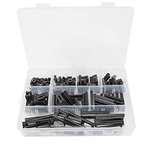 Set de adaptadores de enchufes IC, kit de zócalo IC DUAL Filas de soldadura tipo adaptador Agujero cuadrado 2.54mm IC Kit de chip DIP 18/6/14/16/18/24/28/40 Pines 122pcs Black