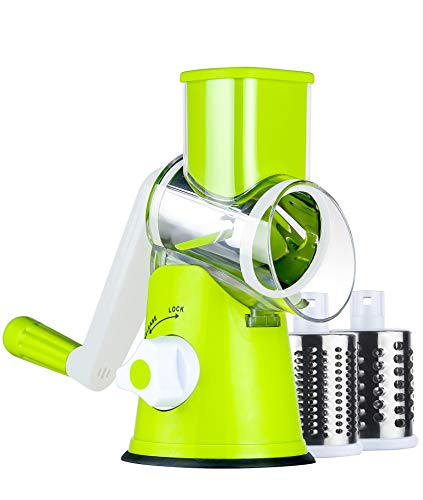 Ancevsk Manual Rotary Cheese Grater - Round Vegetable Slicer with 3 Interchangeable Blades for veggie, Nuts, Fruit (Green)