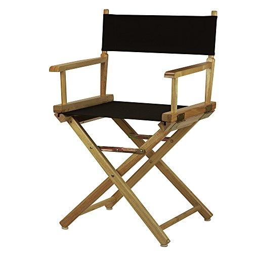 "Casual Home 18"" Director's Chair Natural Frame with Black Canvas"