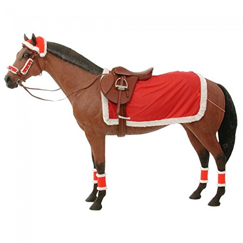 Holiday Christmas 9 Pc Horse Saddle Set Blanket Santa Hat Fleece Covers Halter Leg Covers