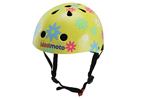 kiddimoto 2kmh029s - Design Sport Helm Flower, Blumenkind S für Kopfumfang 48-53 cm, 2-5 Jahre