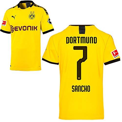 PUMA Borussia Dortmund BVB Heimtrikot 2019/20 Home Trikot Sponsor BL Logo Kinder Jadon Malik Sancho 7 Gr 152