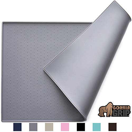 Gorilla Grip Silicone Pet Feeding Mat, Easy Clean, 18.5x11.5, Dishwasher Safe, Waterproof, Raised Edges, Pets Placemat Tray Mats to Stop Cat Food Spills and Water Bowl Messes on Floor, Gray