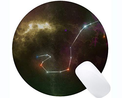 Rutschfeste Gummi-Gaming-Runde-Mausunterlage, Sternzeichen, Horoskop-Illustration, Astrologie-Themen der rutschfesten Gummi-Basis Mousepad