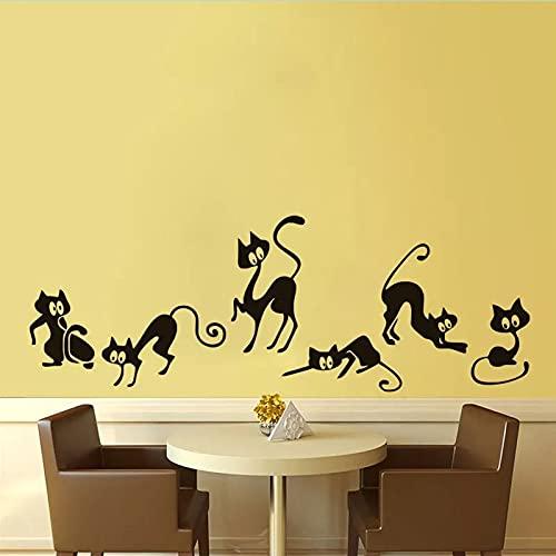 HFDHFH Divertido Gato Negro Pegatina de Pared Animal Sala de Estar decoración de Fondo Pintura de Pared Mural Arte Pegatina Papel Tapiz Pegatina de Cintura