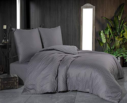 Damast Jacquard Mako Satin Bettwäsche Bettgarnitur Set Bettdeckenbezug 100 % Baumwolle Qualität mit Reißverschluss Kopfkissenbezug 80x80 cm Oeko-TEX (Jacquard Anthrazit, 220 x 240 cm)