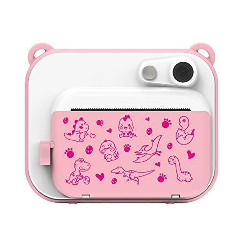 Ushining Kinderkamera, DigitalKamera für Kinder, 1080P HD Videokamera mit 2,0 Zoll IPS Bildschirm, Sofortbildkamera mit 32 GB Micro SD-Karte und 3 Rollen Druckpapier, Geschenk für Kinder (Rosa)