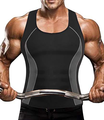 DUROFIT Gilet de Sudation Homme Débardeur Sauna Transpiration Amincissant T Shirt sans Manche Compression Abdominale Veste Néoprène Minceur Fitness Musculation Sport Gym Entraînement Noir XL