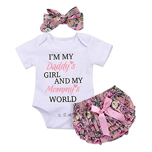 3pcs Newborn Baby Girls Outfits Daddy's Girl White Short Sleeve Romper Floral Bow reffles Shorts Bowknot Headband Outfits(Size 80,3-6month)
