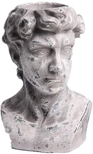 LFDHSF Creative Portrait Retro Head Gypsum Cement Flower Ornament Flower Nordic Plaster Statue Vase Desktop Decorative Crafts