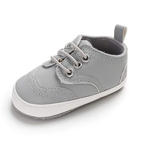 Lacofia Zapatos Primeros Pasos de Bebé Niños Zapatillas Suaves Antideslizantes de Bebé con Cordones Gris 12-18 Meses