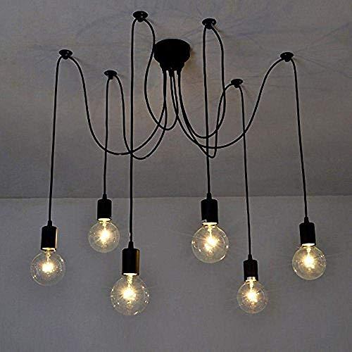 Ristorante moderno a LED antico classico Edison paralume regolabile fai da te soffitto lampada ragno luce E27 retro lampadario pendente sala da pranzo camera da letto hotel 6 teste A-103-926 ZP-926